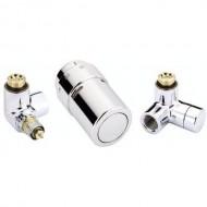 Danfoss zestaw z głowicą termostatyczną RAX lewy chrom 013G4004