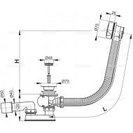 Alcaplast Syfon wannowy z korkiem automat chromowany (długośc 80 cm) A51CR 80
