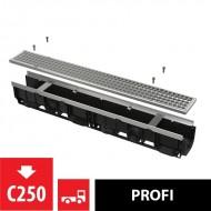 Alcaplast Odwodnienie zewnętrzne 100 mm z obramowaniem metalowym, ruszt ocynkowany (C250), AVZ103-R104