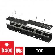 Alcaplast Odwodnienie zewnętrzne 100 mm z obramowaniem metalowym, ruszt żeliwny, D400, AVZ103-R201