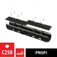 Alcaplast Odwodnienie zewnętrzne 100 mm z obramowaniem metalowym, ruszt kompozytowy (C250), AVZ103-R403
