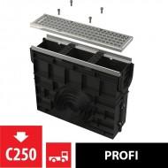 Alcaplast Odwodnienie zewnętrzne studzienka dla AVZ103 z obramowaniem metalowym, ruszt ocynkowany (C250), AVZ103R-R104S