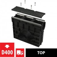 Alcaplast Odwodnienie zewnętrzne studzienka dla AVZ103 z obramowaniem metalowym, ruszt żeliwny, D400, AVZ103R-R201