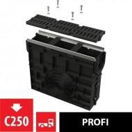 Alcaplast Odwodnienie zewnętrzne studzienka dla AVZ103 z obramowaniem metalowym, ruszt kompozytowy (C250), AVZ103R-R403