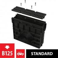 Alcaplast Odwodnienie zewnętrzne studzienka dla AVZ104 z obramowaniem z tworzywa, ruszt kompozytowy (B125), AVZ104R-R402