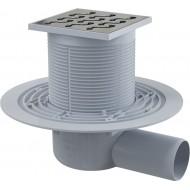 Alcaplast Kratka ściekowa 105x105/50 mm, odpływ boczny, kratka nierdzewna, syfon mokry, APV102