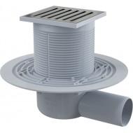 Alcaplast Kratka ściekowa 105x105/50 mm, odpływ boczny, kratka nierdzewna, syfon mokry, APV103