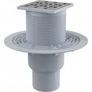 Alcaplast Kratka ściekowa 105x105/50/75 mm, odpływ pionowy, kratka nierdzewna, syfon mokry, APV202
