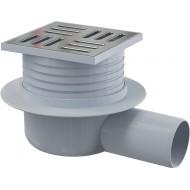 Alcaplast Kratka ściekowa 105x105/50 mm, odpływ boczny, kratka nierdzewna, syfon mokry, APV26