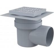 Alcaplast Kratka ściekowa 150x150/110 mm, odpływ boczny, kratka szara, dwa poziomy izolacji, syfon mokry, APV10