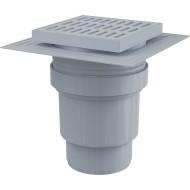 Alcaplast Kratka ściekowa 150x150/110 mm, odpływ pionowy, kratka szara, dwa poziomy izolacji, syfon mokry, APV11