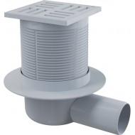 Alcaplast Kratka ściekowa 105x105/50 mm, odpływ boczny, kratka szara, syfon mokry, APV5111