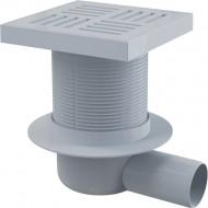Alcaplast Kratka ściekowa 150x150/50 mm, odpływ boczny, kratka szara, syfon mokry, APV5211