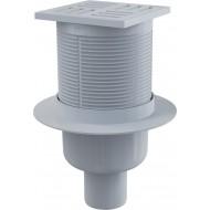 Alcaplast Kratka ściekowa 105x105/50 mm, odpływ pionowy, kratka szara, syfon mokry, APV6111