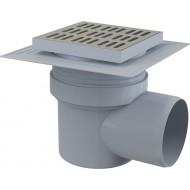 Alcaplast Kratka ściekowa 150x150/110 mm, odpływ boczny, kratka nierdzewna, dwa poziomy izolacji, syfon mokry, APV12