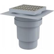 Alcaplast Kratka ściekowa 150x150/110 mm, odpływ pionowy, kratka nierdzewna, dwa poziomy izolacji, syfon mokry, APV13